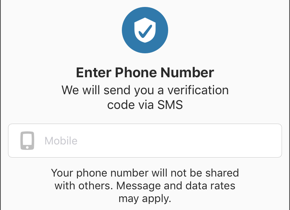 Enter phone number screen